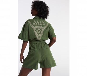 Alix The Label Woven Cotton Slub Jumpsuit Olive