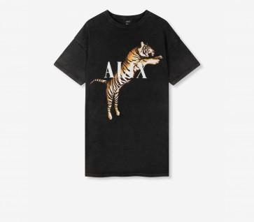 Alix The Label Tiger T-Shirt Dress Black